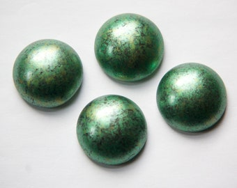 Vintage Metallic Green and Gold Black Marbled Acrylic Cabochon 21mm cab806H