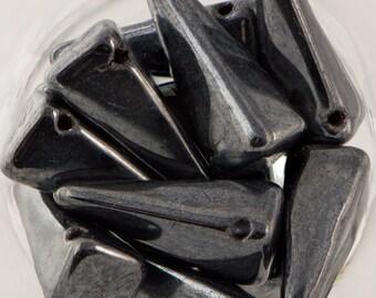 Preciosa Opaque Hematite Glass Czech Villa Beads 13x6mm (12) czh028T