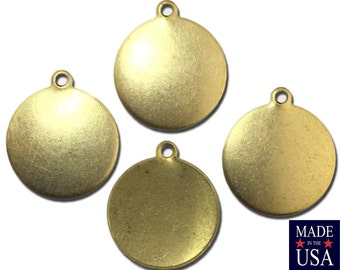 1 Loop Raw Brass Disc Charm 15mm Round (12) mtl002