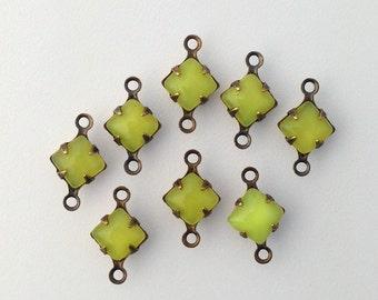 Yellow Moonglow Glass Stones 2 Loop Brass Ox Setting 6mm (8) squ014LL2