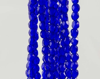 Firepolish Czech Faceted Cobalt Glass Beads 3mm (50)