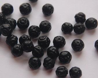Vintage Black Glass Textured Beads 8mm bds921