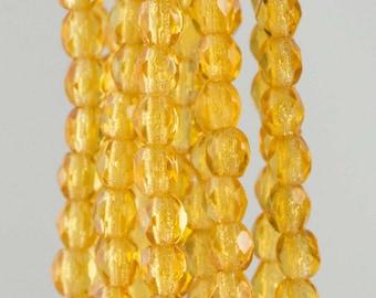 Firepolish Czech Faceted Medium Topaz Glass Beads 3mm (50)