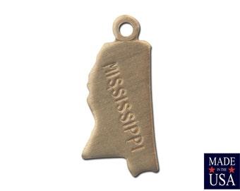 Raw Brass Tiny Mississippi State Charm Drops 15x7mm (2) chr202XX