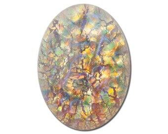 Red Multi Colored Opal Oval Glass Cabochons 18x13mm (2) cab5005F