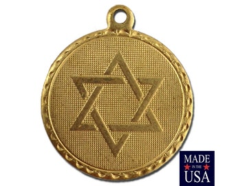 Raw Brass Star of David Charm Drop with Loop (4) chr187HH