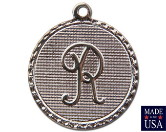 Silver Plated R Letter Charm Drop with Loop (1) chr221R