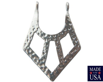 2 Loop Silver Plated Hammered V Pendants Drops (6) 24x18mm mtl182C