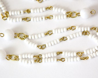 Vintage White Beaded Double Strand Chain Findings (2) drp123A