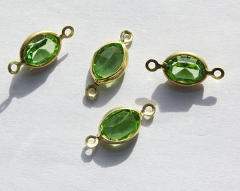 2 Loop Faceted Peridot Green Swarovski Glass Channel Set Connectors Links cha006G