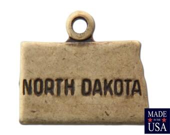 Brass Ox Tiny North Dakota State Charm Drops 11x9mm (2) chr204ZZ