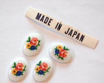 Vintage Floral Flower Cabochons Japan 14x10mm (4) cab425G
