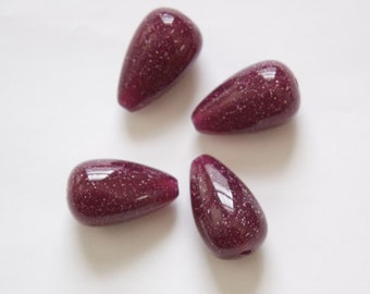 Vintage Grape Purple with Speckles Chubby Teardrop Acrylic Beads (4) bds1002A