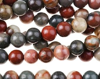 """Dakota Stones Polychrome Jasper 6mm Round Gemstones. 8"""" Strand. POL6RD-8"""