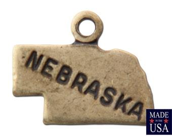 Brass Ox Tiny Nebraska State Charm Drops 13x9mm (2) chr204TT