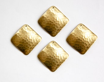 1 Hole Raw Brass Wavy Hammered Square Pendant Charm (4) mtl378