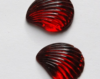 Vintage Ruby Red Glass Fan or Shell Cabochons cab286A