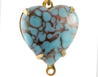 Turquoise Matrix Glass Heart Connector in 2 Loop Brass Setting 15mm hrt001W2