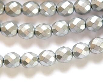 Czech Opaque Matte Silver Faceted Glass Beads 8mm (25) czh001Q