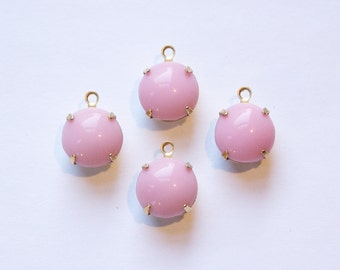 Vintage Opaque Pink Glass Stones in 1 Loop Brass Settings rnd004W
