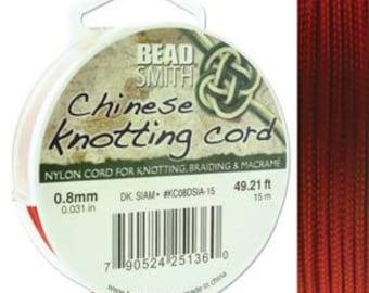 Dark Siam Chinese Knotting Cord (.8mm/.031in) 15m/16.4yds