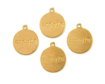CREATE Round Raw Brass Word Charm Drop with Loop (8) chr192C