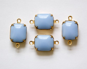 Vintage Deeper Periwinkle Blue Stones 2 Loop Brass Setting 12mm x 10mm oct005S2