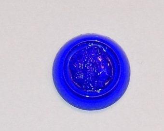 Vintage German Sapphire Blue Glass Cameo cab342D