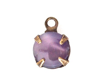 Vintage Purple Moonglow Glass Stone 1 Loop Brass Ox Setting Drops (6) rnd007S