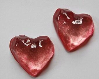 Vintage Funky Mod Bumpy Rose Lucite Heart Cabochon (2) cab773G