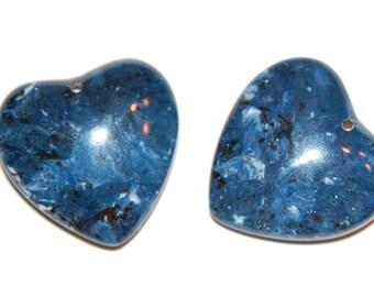 Blue Marbled Vintage Lucite Heart Pendant pnd091D