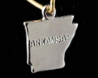 Shiny Silver Tiny Arkansas State Charm Drops (6) chr224AD