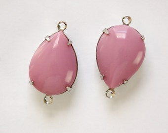 Vintage Mauve Pink Glass Teardrop Stones 2 Loop Silver Setting 18x13mm par006YY2