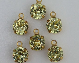 Vintage Jonquil Faceted Glass Stone 1 Loop Brass Setting Drops 7mm (6) rnd001QQ