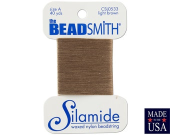 Light Brown Silamide Waxed Nylon Beadstring Size A (40 Yards) CSL0533