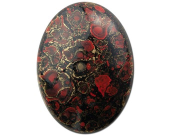 Vintage Metallic Gold Red and Black Acrylic Cabochons 40X30mm (2) cab838G