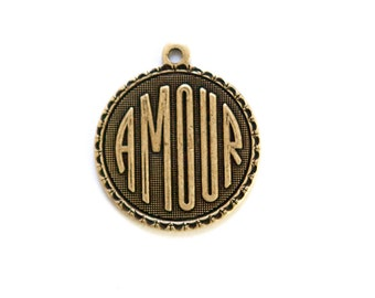 Brass Ox Amour Love  Word Charm Drop with Loop (1) chr195DD