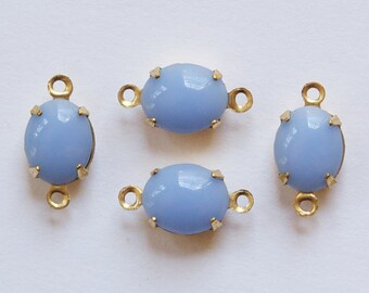 Vintage Opaque Periwinkle Blue Oval Stones in 2 Loop Brass Setting ovl005JJ2