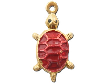 Vintage Gold Tone Turtle Charms Red Shell 23x15mm (4) chr176A