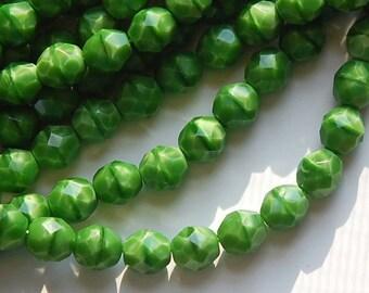 Opaque Green Moonstone Czech Faceted Glass Beads 8mm (25) czh001D