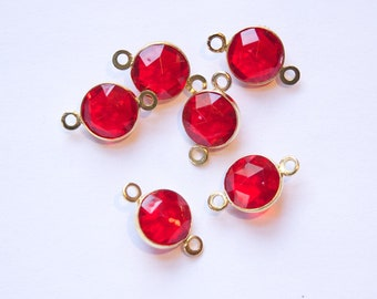 Vintage Red Acrylic Faceted 2 Loop Channel Set Connector Beads chr182