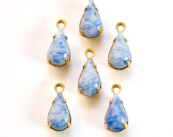 Vintage Blue and White Teardrop Glass Stones 1 Loop Brass Setting Drops par002M
