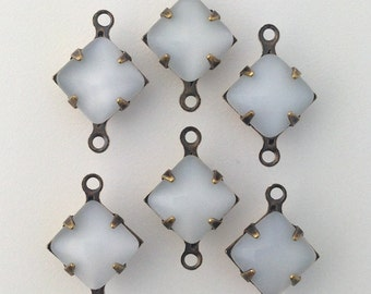 White Moonstone Square Glass Stones 2 Loop Brass Ox Setting 8mm squ017VV2