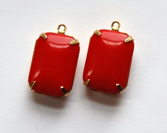 Vintage Red Glass Rectangle Drops 1 Loop Brass Setting 18X13mm squ004C