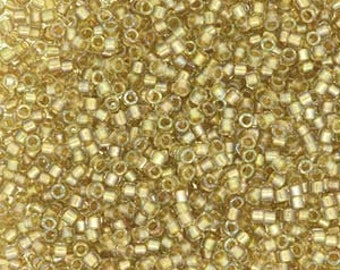 Fancy Lined Champagne Miyuki Delica Seed Bead 11/0 7.2G Tube DB2396-TB