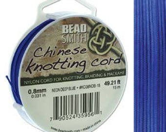 Neon Deep Blue Chinese Knotting Cord (.8mm/.031in) 15m/16.4yds