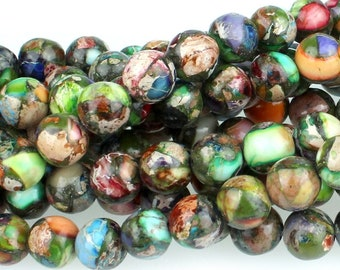 "Dakota Stones Mixed Impression Jasper 8mm Round Gemstones. 8"" Strand. MIM8RD-8"