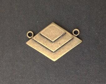 2 Loop Brass Ox Deco Layered V Connector Pendants  (2) mtl407F