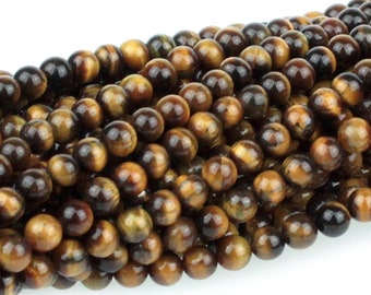 "Dakota Stones Tiger Eye 4mm Round Gemstones. 8"" Strand. TGE4RD-8"