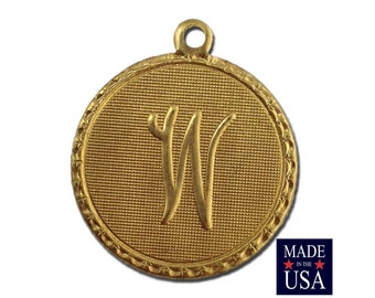 Raw Brass Letter W Initial Charm Drop with Loop (1) chr190W